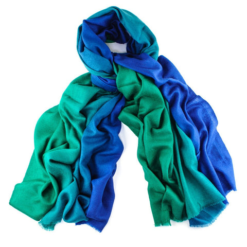 Emerald to Sapphire Handwoven Cashmere Shawl