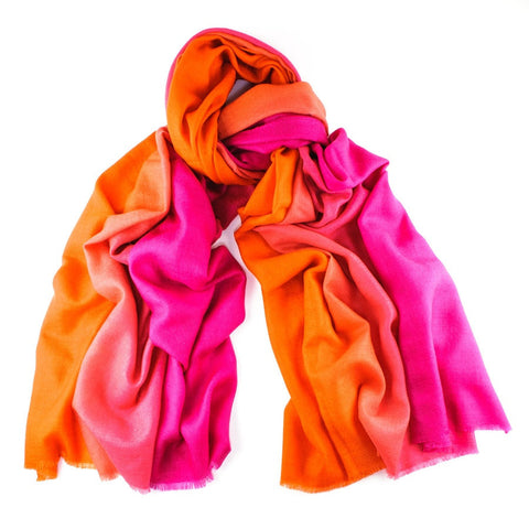 Pink to Orange Handwoven Cashmere Shawl
