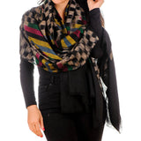 Chequerboard Ikat Cashmere Ring Shawl