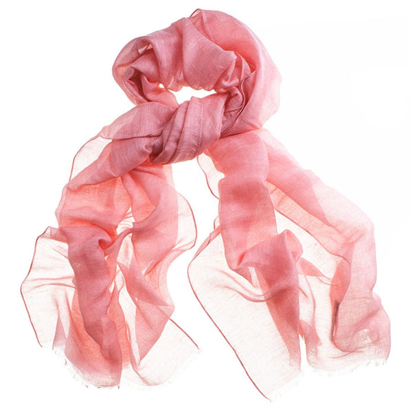 Coral Modal Linen and Silk Scarf