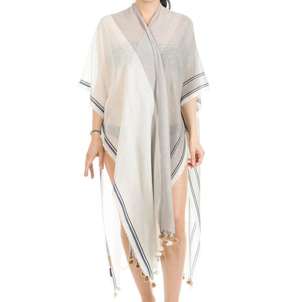 Athena Grey and Ivory Cotton Poncho Cover-Up