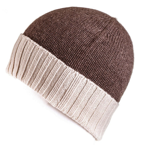 Chocolate Brown and Cream Cashmere Beanie