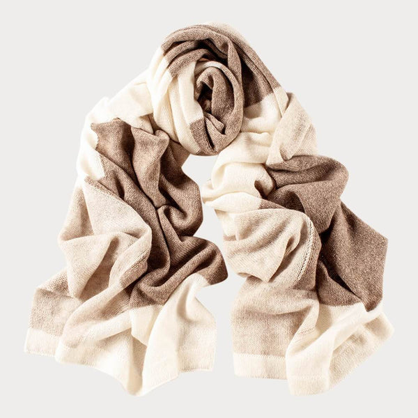 Coffee and Cream  Patchwork Cashmere Scarf