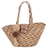 Antibes Brown and Natural Pom Pom Tote