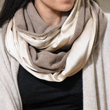Champagne Silk and Soft Brown Cashmere Snood