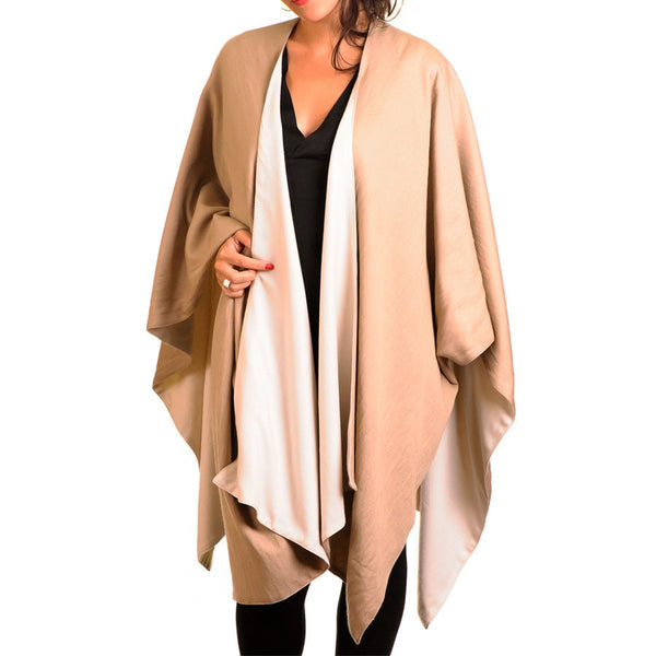 Cream and Camel Double-Sided Cape - Cashmere and Silk