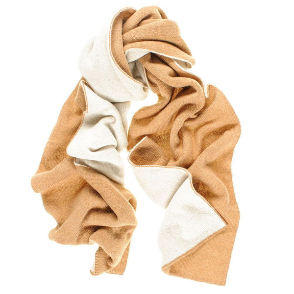 Camel and Cream Double Faced Cashmere Scarf
