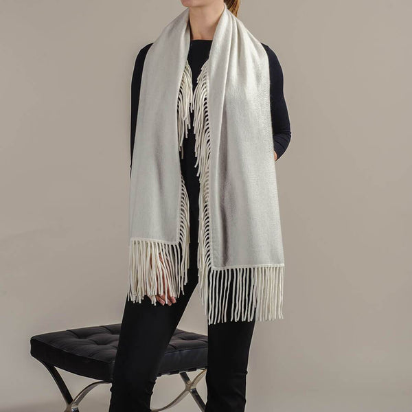 Grey and Vanilla Fringed Cashmere Shawl