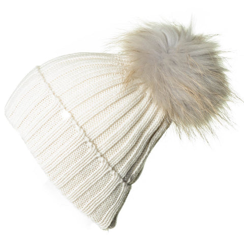 Cream Cashmere and Fur Pom Pom Beanie