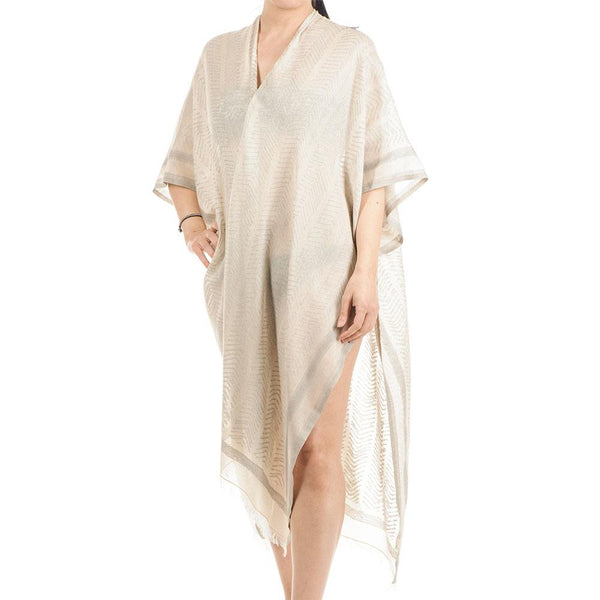 Harmonia Natural and Grey Cotton Poncho Cover Up