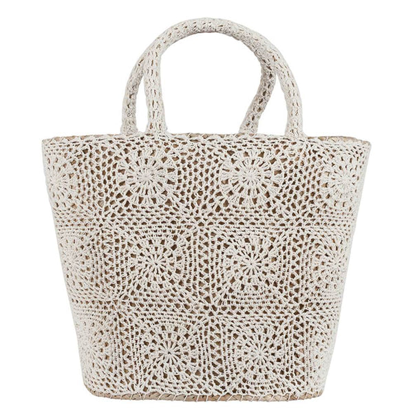 Ivory Crochet and Straw Beach Bag