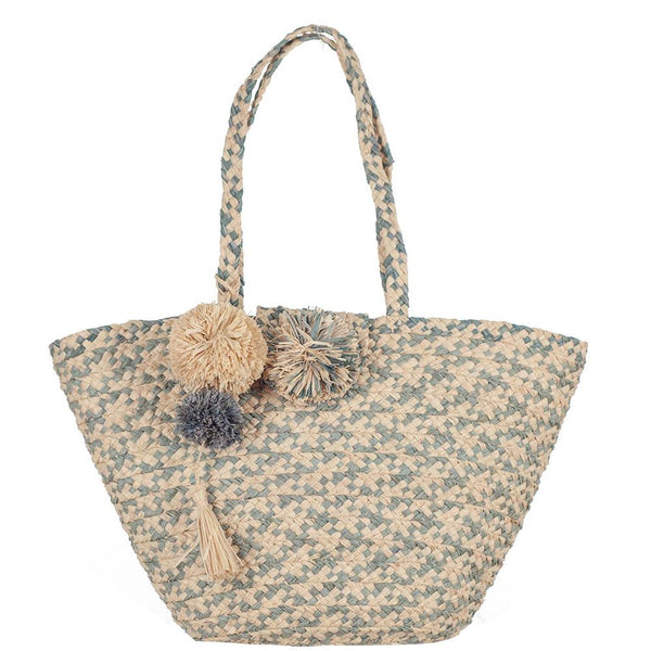 Marseilles Sea Green and Natural Pom Pom Tote