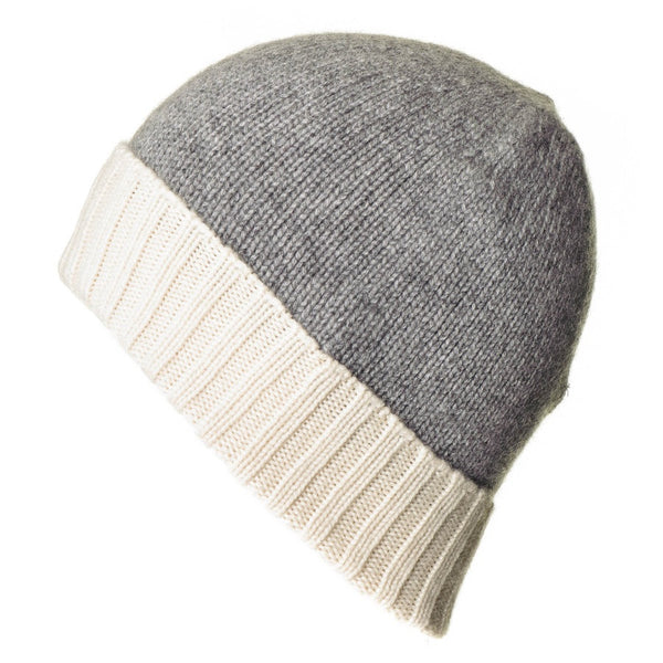 Cream and Grey Cashmere Beanie