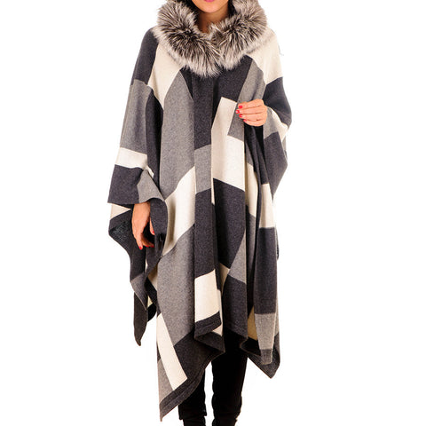 Geometric Cashmere and Wool Hooded Cape with Fur Trim