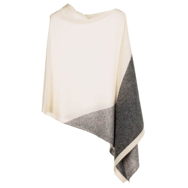 Triple Toned Grey and Cream Patchwork Cashmere Poncho