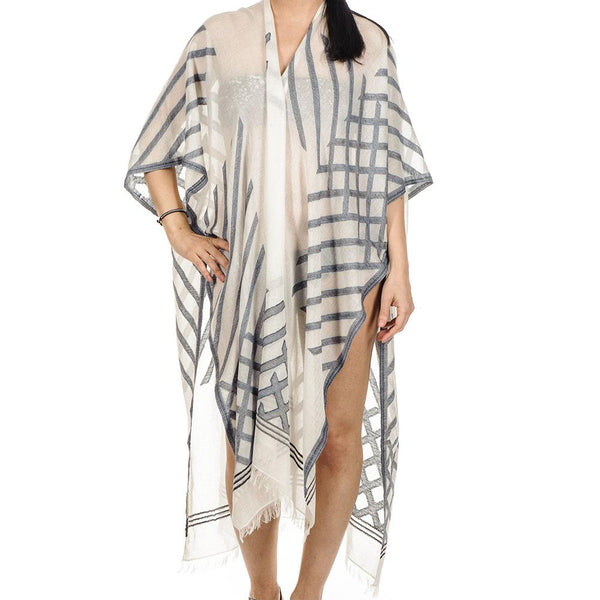 Electra Geometric Cotton Poncho Cover Up