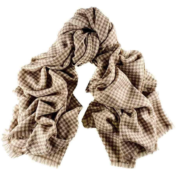 Cream and Biscuit Houndstooth Cashmere Ring Shawl