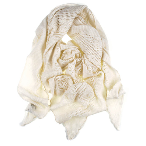 Cream Italian Lace Knit Triangular Cashmere Scarf