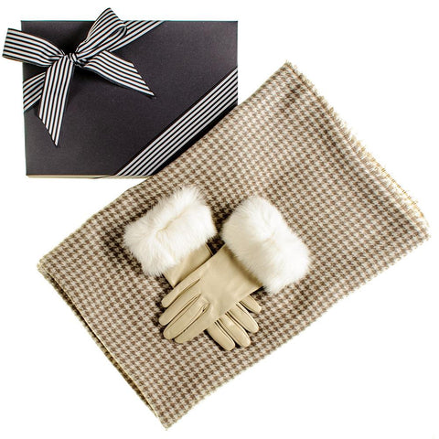 Houndstooth Ring Shawl and Fur Cuff Leather Gloves Gift Set