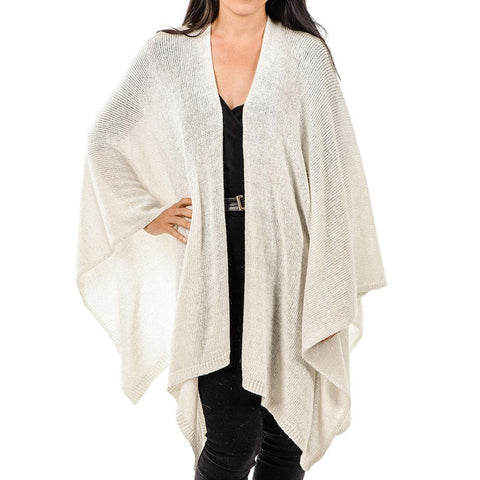 Ivory Wool Cashmere and Lurex Cape