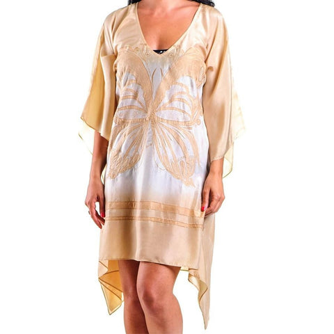 Cream Shaded Butterfly Silk Kaftan