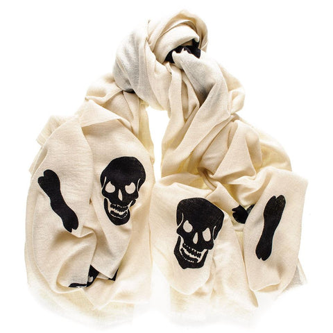 Skull and Crossbones Cashmere Ring Shawl