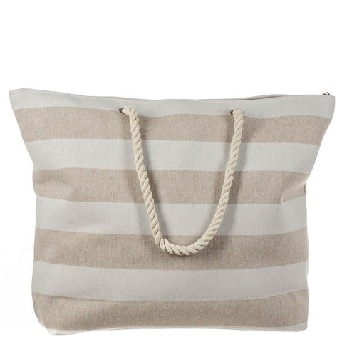 Ecru and White Striped Beach Bag