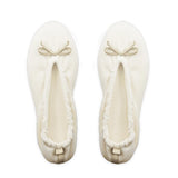 Cream Velvet Ballerina Slippers