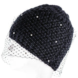 Elvina Black Baby Alpaca and Swarovski Beanie