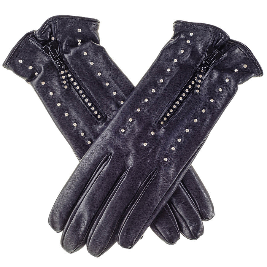 Ladies leather golf gloves uk - Ladies Black Leather Gloves With Swarovski Crystlas Silk Lined Black Co Uk