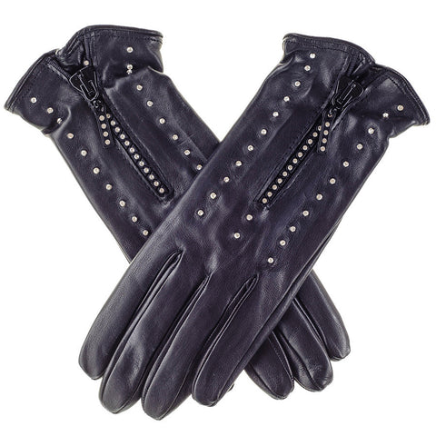 Swarovski Embellished Black Leather Gloves