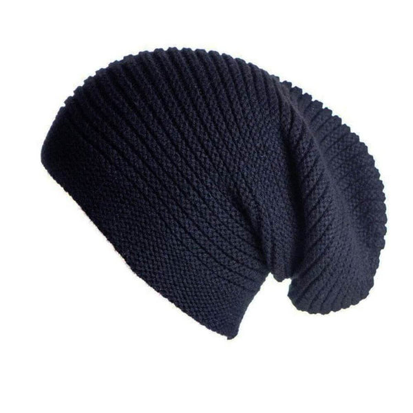 Inky Black Cashmere Slouch Beanie