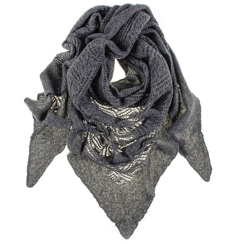 Charcoal Grey Italian Lace Knit Triangular Cashmere Scarf