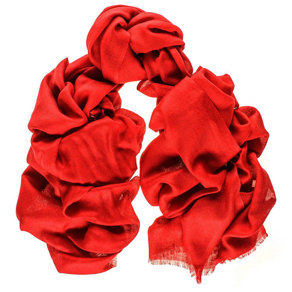 Cardinal Red Cashmere and Silk Wrap