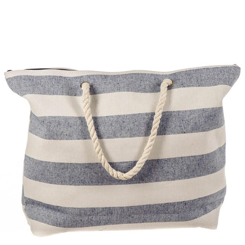 Denim and White Striped Beach Bag