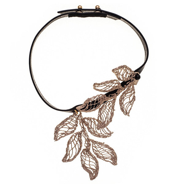 Electra Bronze and Leather Choker with Pendant