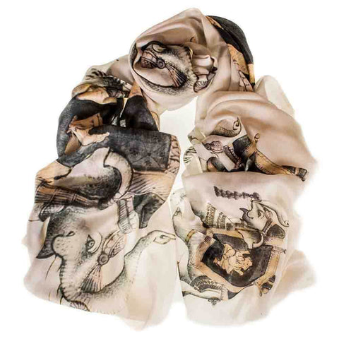 Cashmere and Silk Elephant Print Scarf