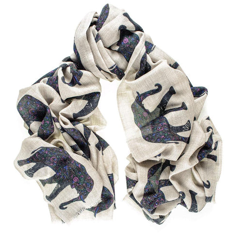 Elephant Print Silk and Merino Wool Scarf