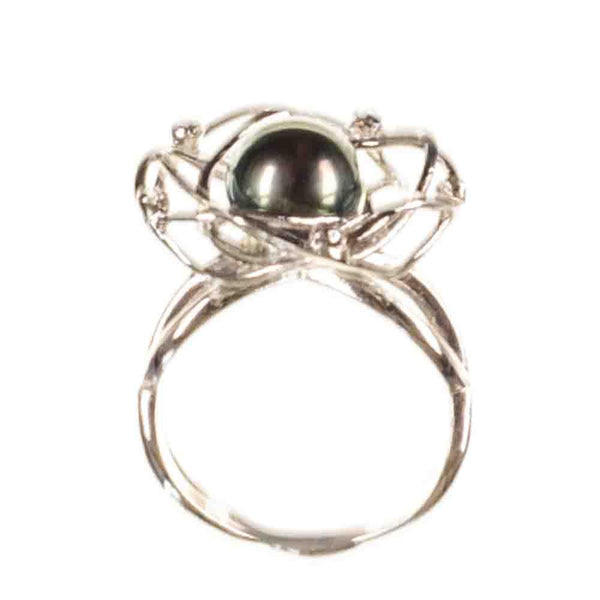 Flora Tahitian Black Pearl and Sterling Silver Ring