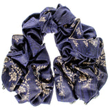 Hand Embroidered  Navy Cashmere Ring Shawl