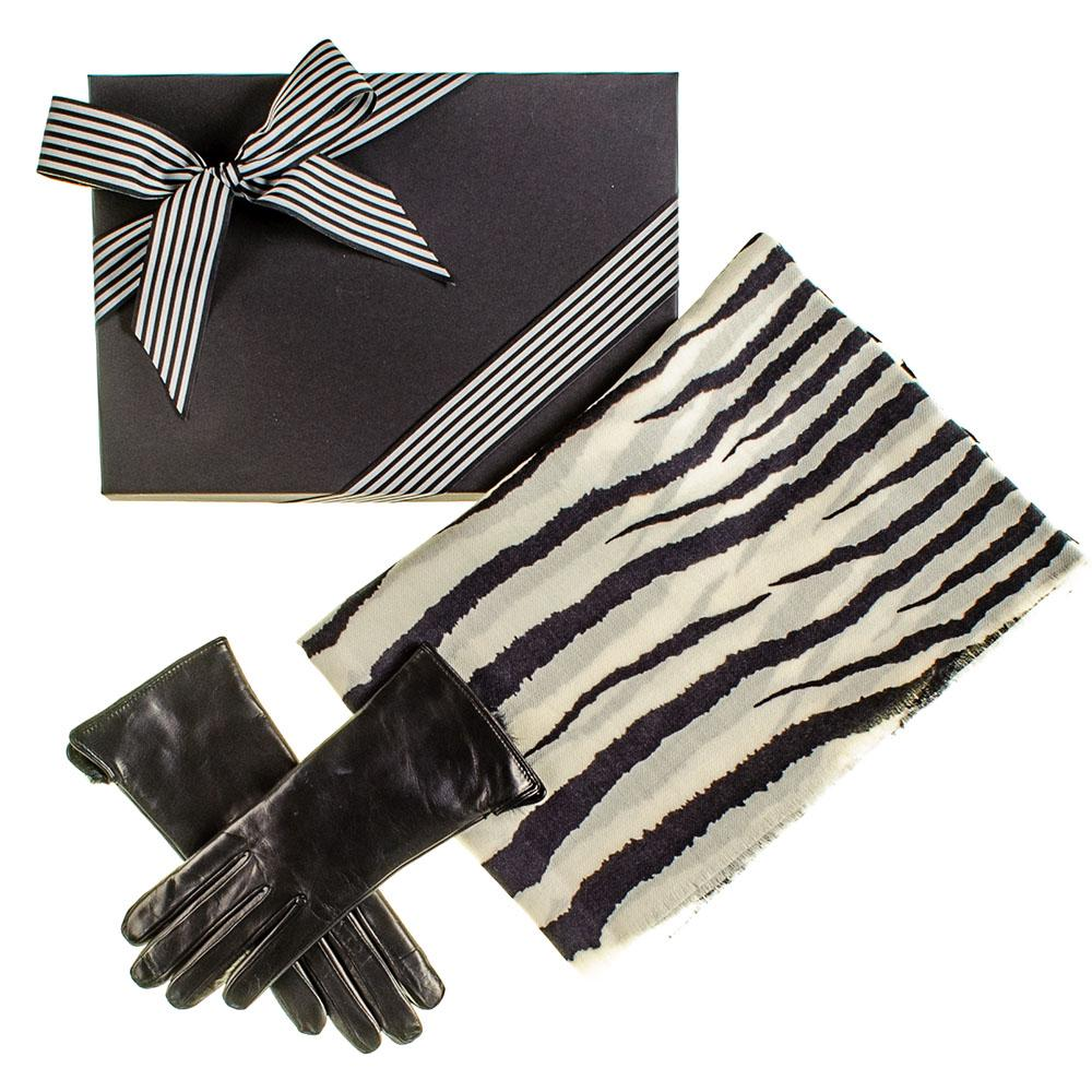 Zebra Print Scarf And Rabbit Fur Lined Leather Gloves Gift
