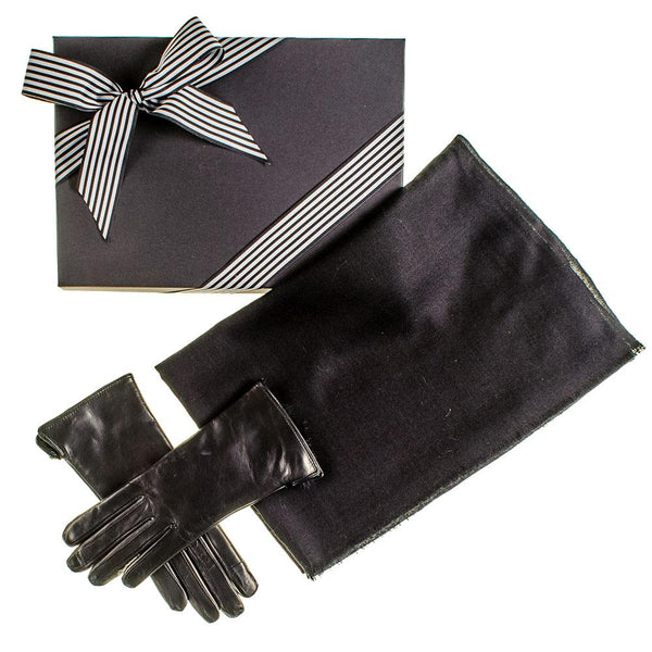 Black Cashmere Scarf and Rabbit Fur Gloves Gift Set