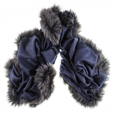 Fur Trimmed Navy Cashmere Shawl