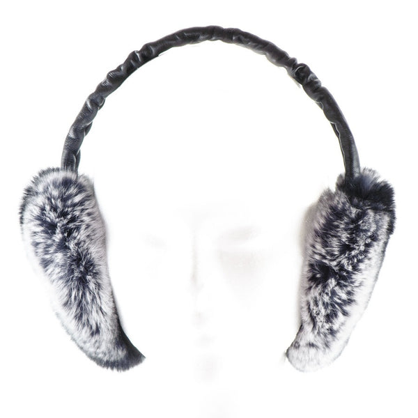 Black Leather and Silver Grey Rabbit Fur Earmuffs