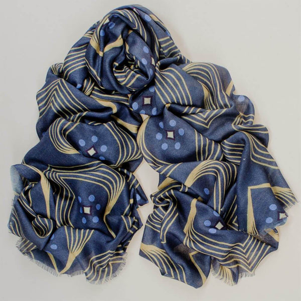 Stylised Peacock Print Cashmere and Silk Scarf