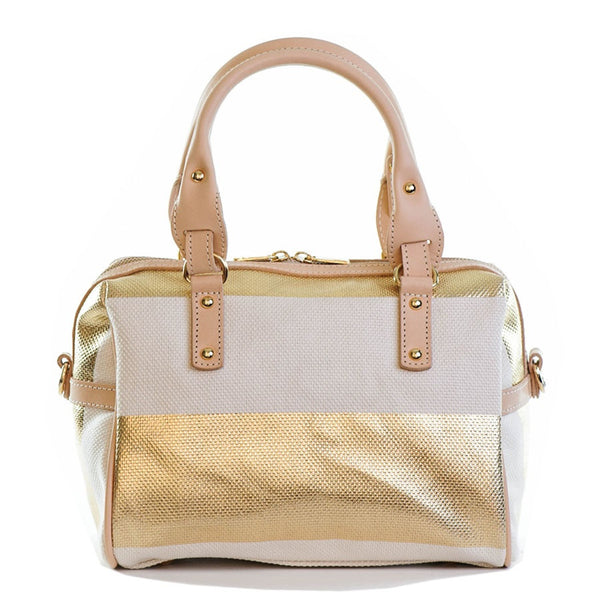 Capri Gold and Ivory Satchel Bag