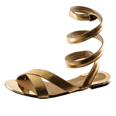 Metallic Gold Leather Gladiator Sandals