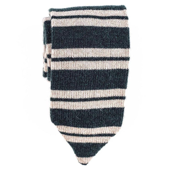 Green and Oatmeal Striped Cashmere Tie