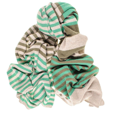 Green and Taupe Multi Striped Cashmere Scarf