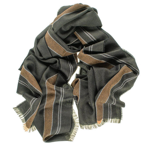 Dark Green and Camel Merino Wool Scarf